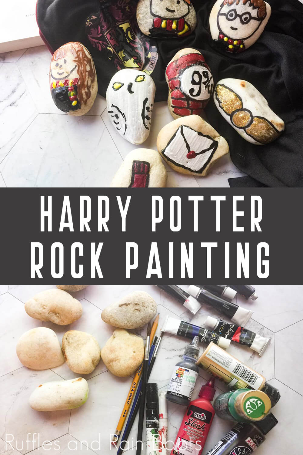 photo collage of harry potter stone painting ideas with text which reads harry potter rock painting
