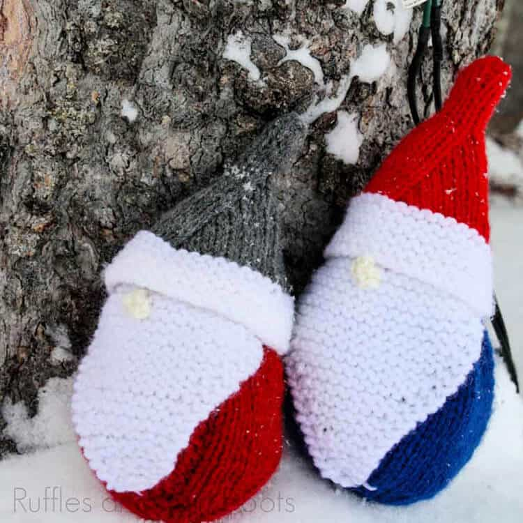 Free Gnome Knitting Pattern in the snow in front of a tree