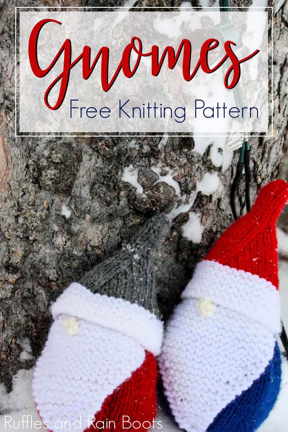 Gnome Knitting Pattern for Beginners to Make a Holiday Gnome on a snowy landscape with text which reads gnomes free knitting pattern