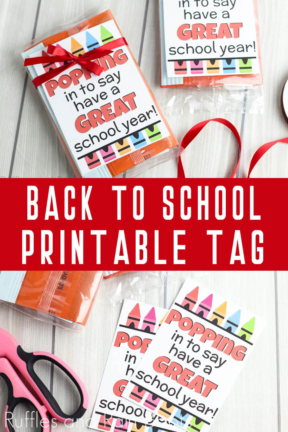 photo collage of Back to School Popcorn Tag with text which reads back to school printable tag