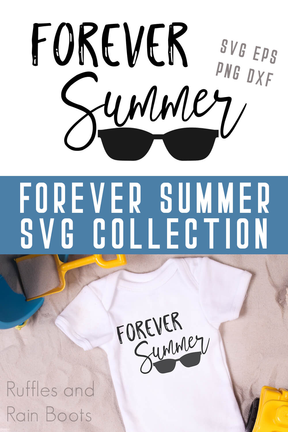 photo collage of Forever Summer free summer SVG for Silhouette with text which reads forever summer SVG collection