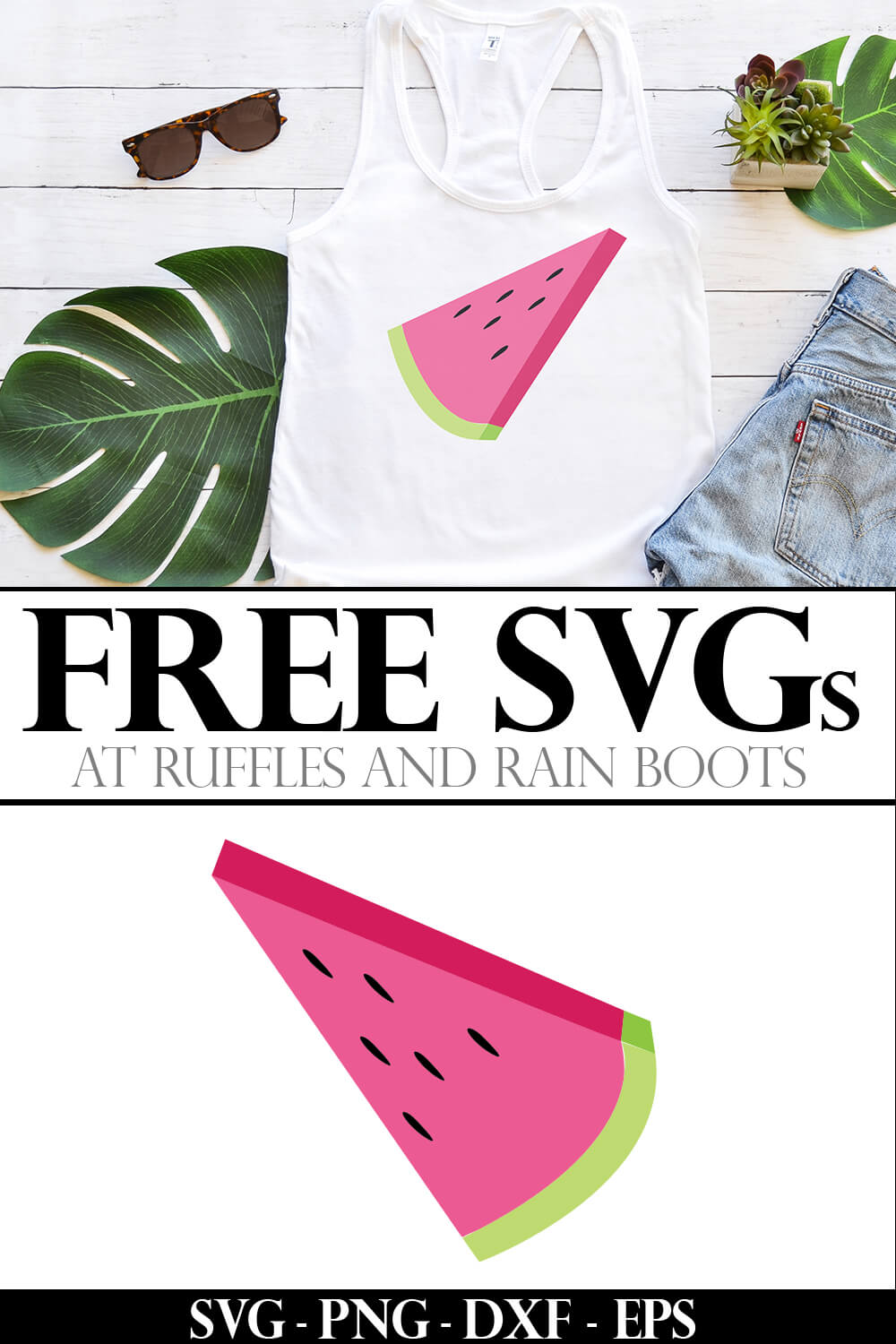 photo collage of Watermelon Slice summer cut file on Tank Top with text which reads free svgs