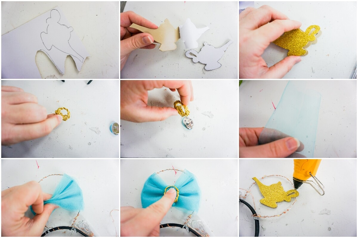photo collage tutorial of how to make diy glow in the dark mickey ears princess jasmine