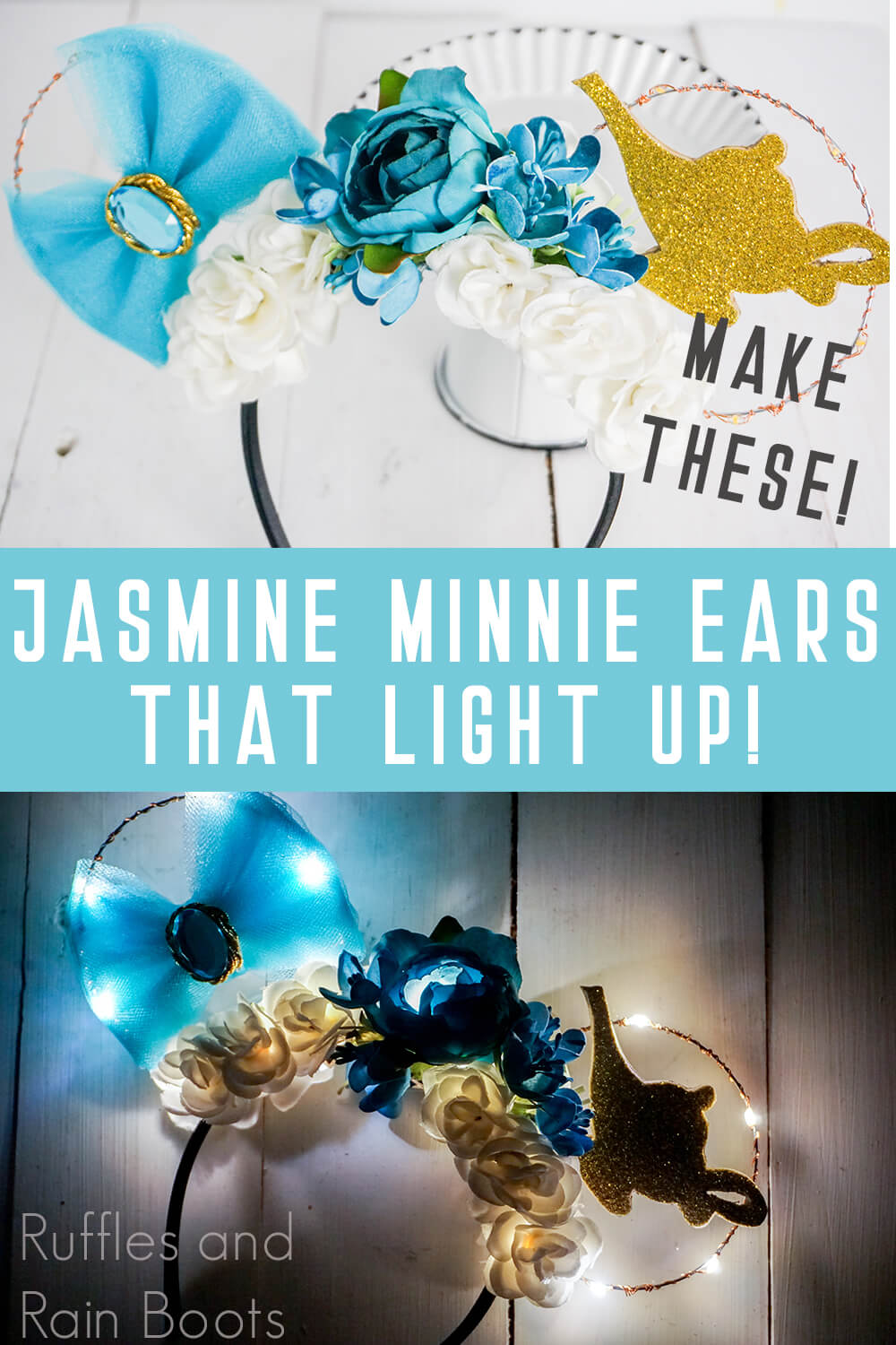 photo collage of floral light-up jasmine mickey ears glowing in the dark and on a white background with text which reads make these! jasmine minnie ears that light up