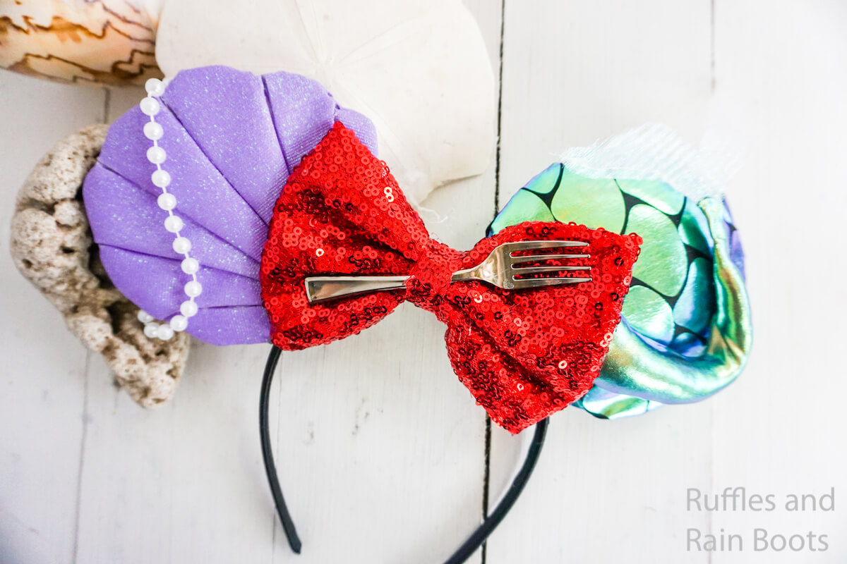 easy ariel mickey ears for disney on a white wood background