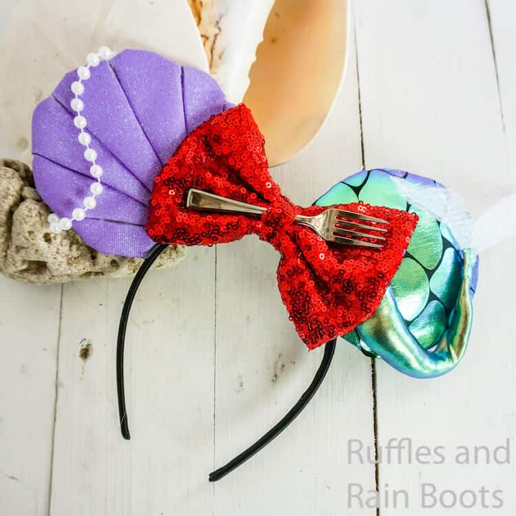 easy little mermaid mickey ears for disney on a white wood background with sea shells
