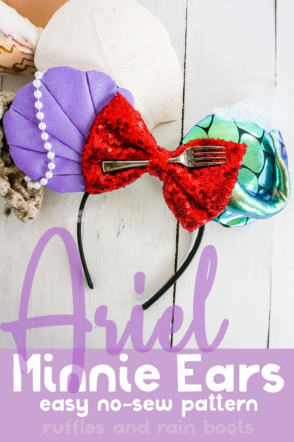 how to make no-sew ariel mickey ears for disney on a white wood background with text which reads ariel minnie ears easy no-sew pattern