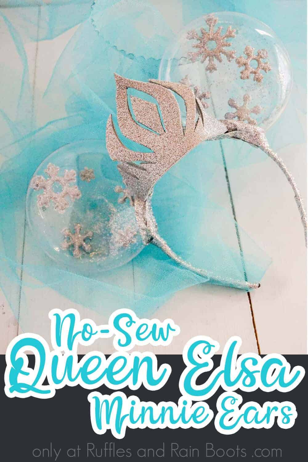 frozen minnie ears with crown on blue tulle on a white wood background with text which reads no-sew queen elsa minnie ears
