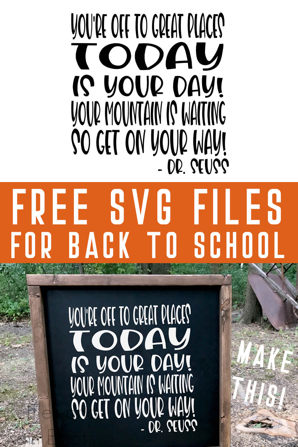 photo collage of Dr. Seuss SVG for Cricut on a chalkboard sign with text which reads free svg files for back to school