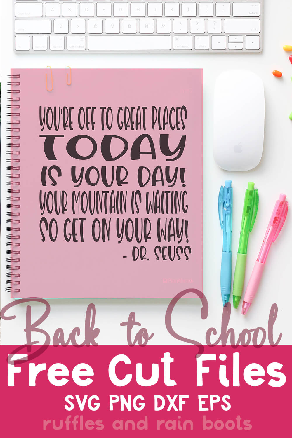 Dr. Seuss Quote back to school svg for Cricut or Silhouette on Notebook with text which reads back to school free cut files svg png dxf eps