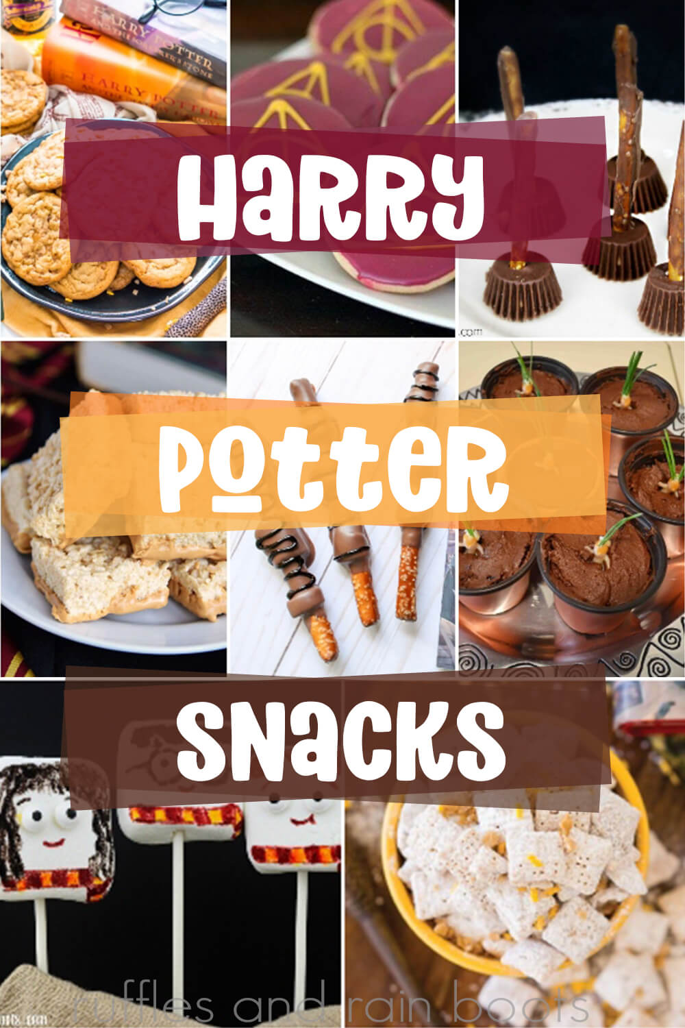 photo collage with text overlay which reads harry potter party snacks