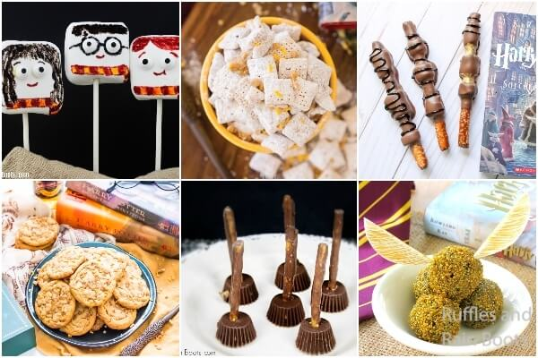photo collage of harry potter snack ideas for a harry potter party