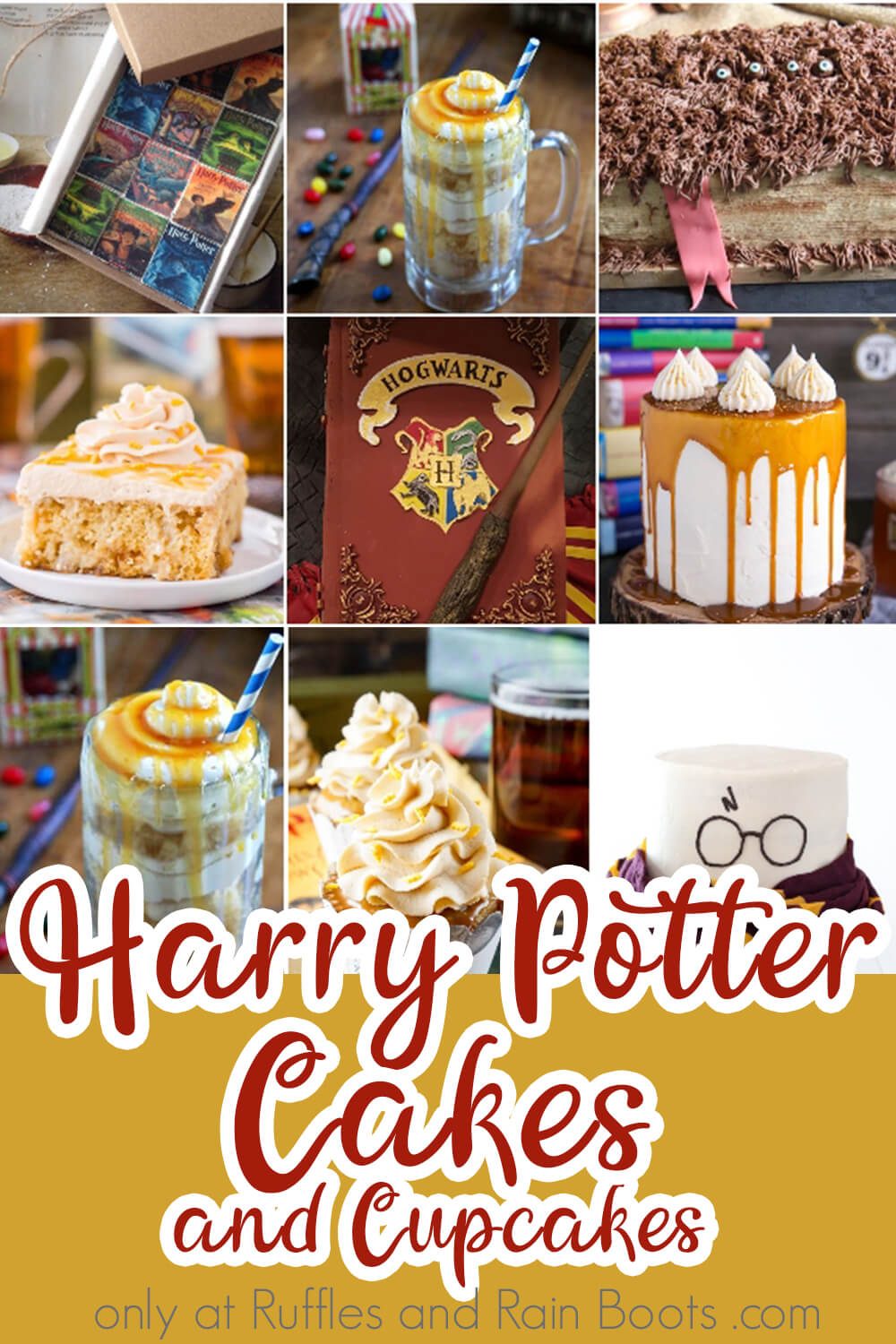 photo collage of harry potter cake recipe with text which reads harry potter cakes and cupcakes