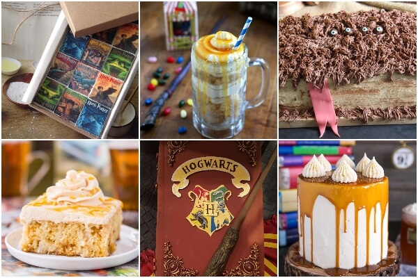photo collage of how to make a harry potter cupcake for a harry potter party