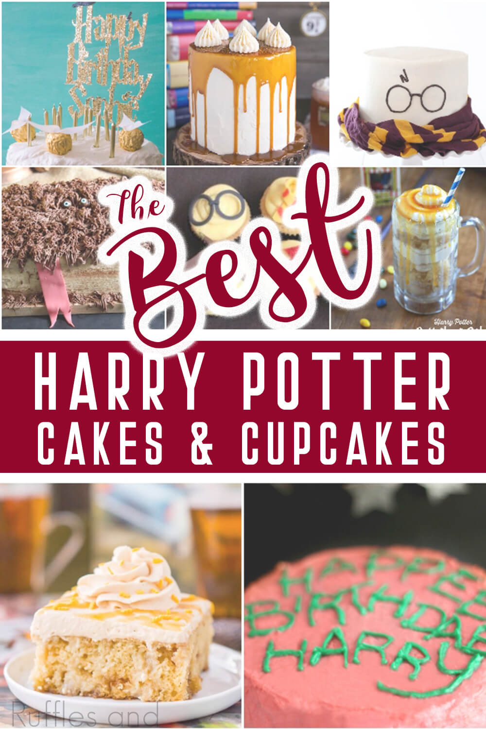 photo collage of cake recipes for a harry potter party with text which reads the best harry potter cakes & cupcakes