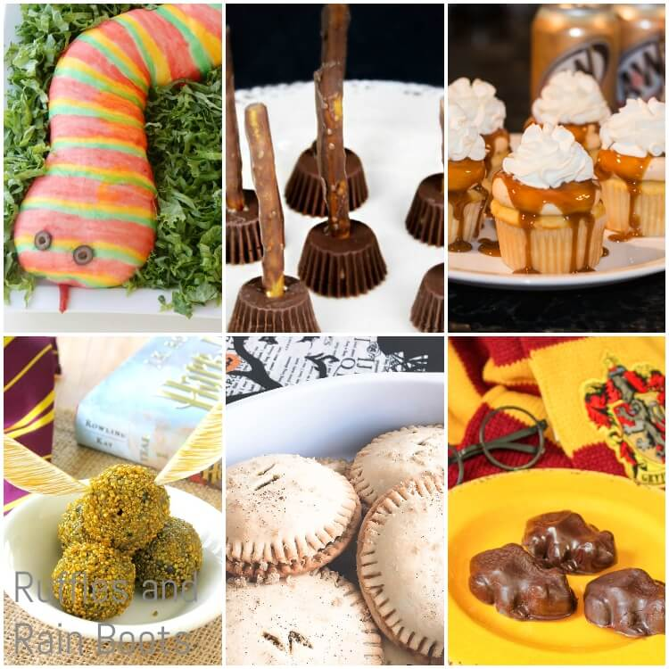 photo collage of harry potter halloween recipes