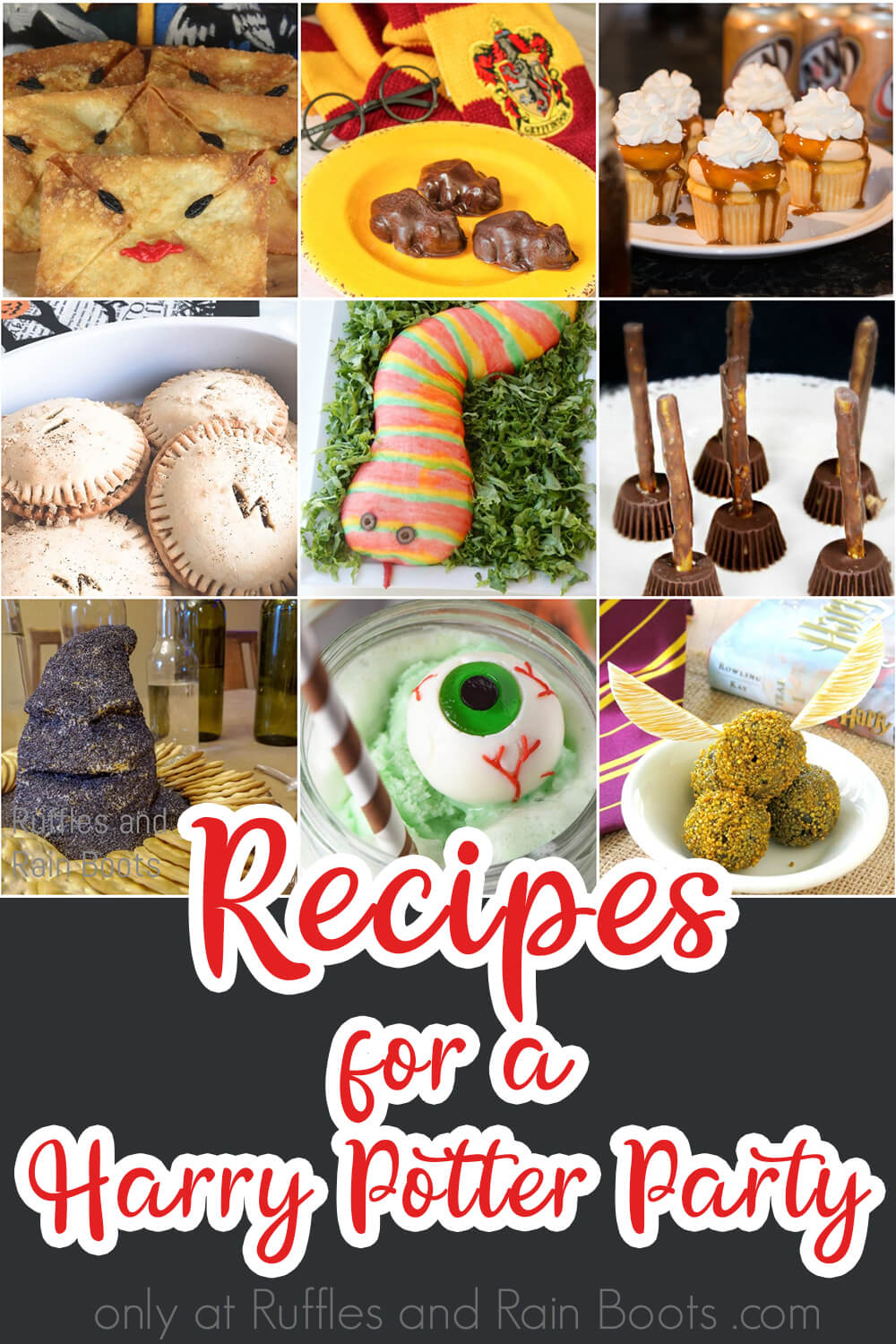 photo collage with text which reads recipes for a harry potter party