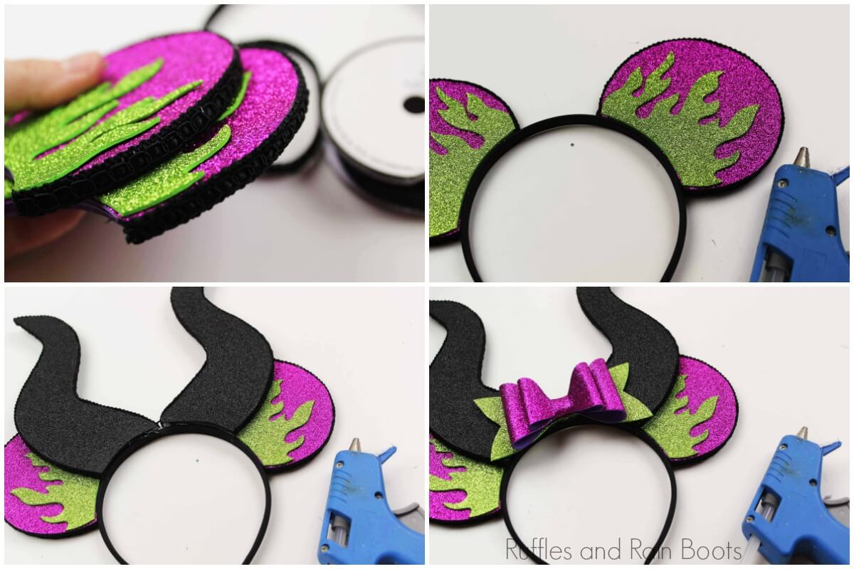 step by step how to assemble maleficent mickey ears