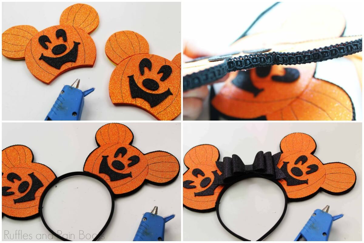 how to assemble DIY no sew Mickey ears