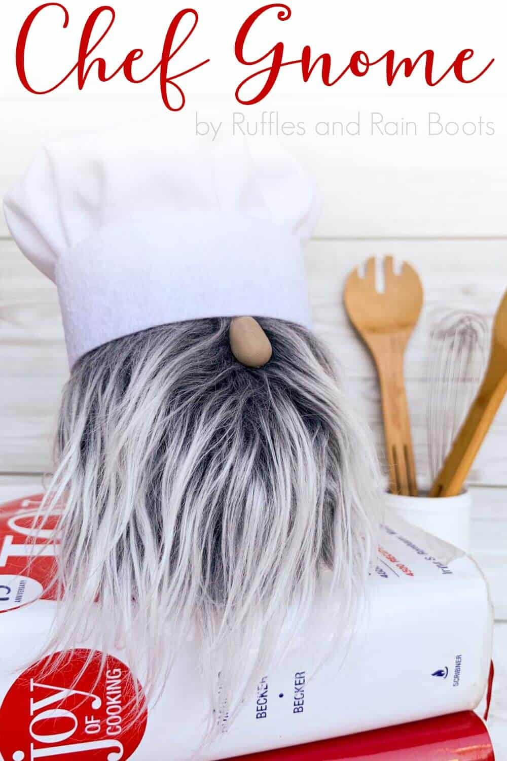 adorable gray and white bearded chef gnome sitting on cookbooks with text which reads chef gnome by ruffles and rain boots