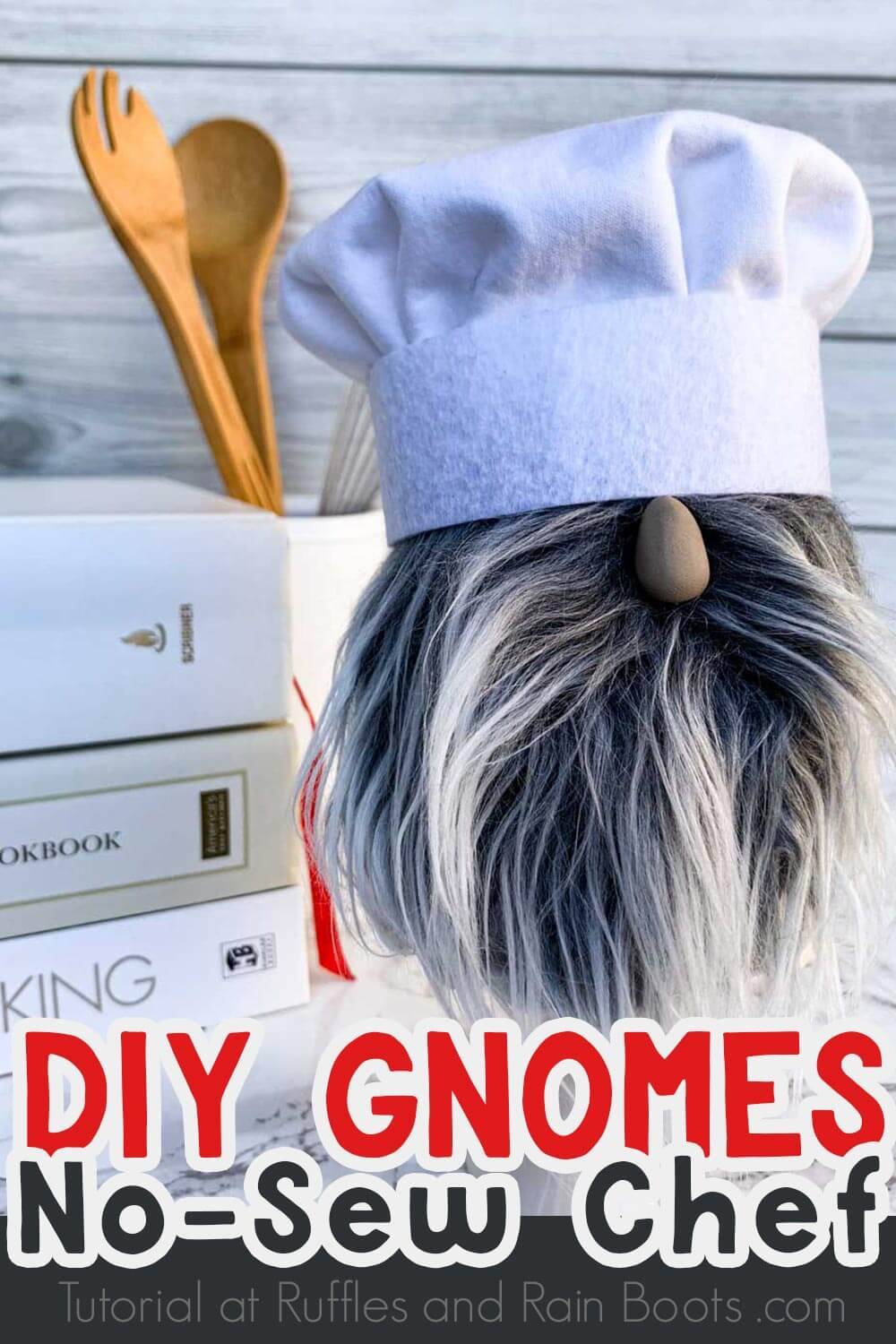 cute bearded tomte with chef toque close up with text which reads diy gnomes no sew chef