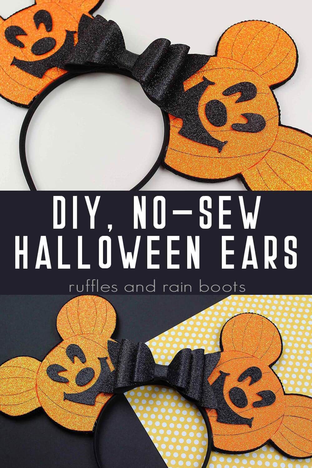 collage of Pumpkin head Mickey ears with text which reads DIY no sew Halloween ears