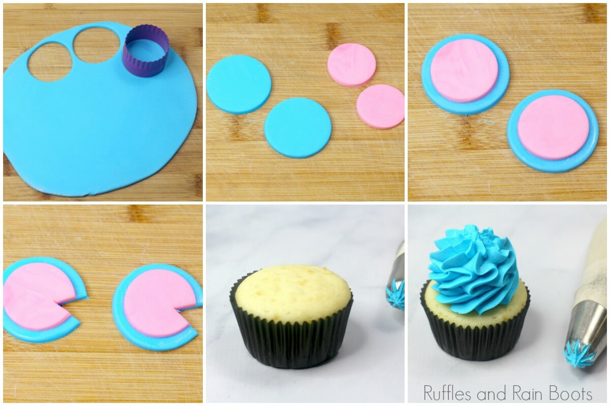 collage of steps to make a lilo and stitch cupcake inspired by Disney using pink and blue rolled fondant
