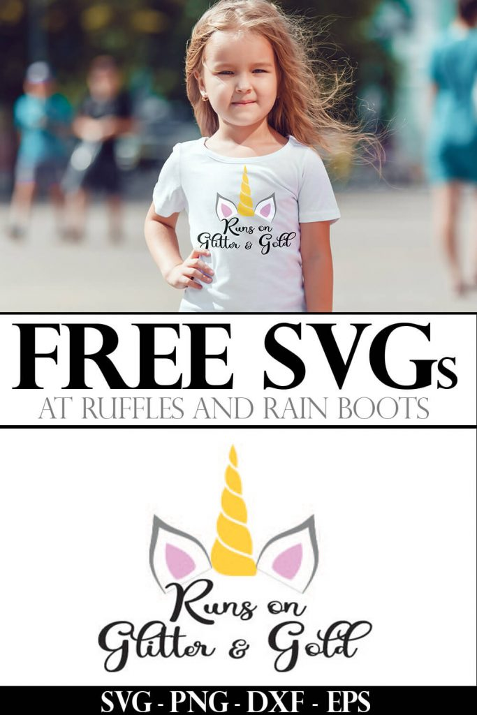 photo collage of runs on glitter and gold free unicorn file for cutting machines on kid tshirt with text which free svgs