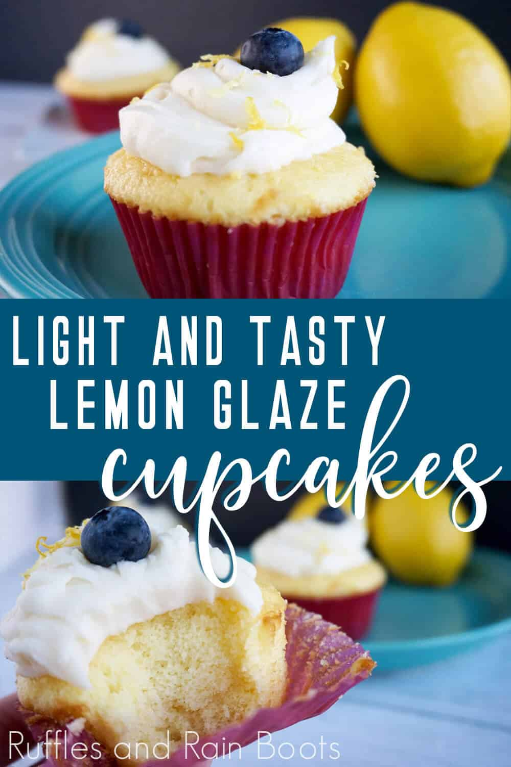 photo collage of Light Lemon Glaze Cupcake Recipe with text which reads light and tasty lemon glaze cupcakes