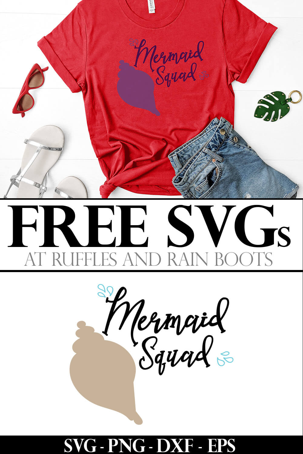 photo collage of mermaid squad free mermaid svg for silhouette with text which reads free svgs