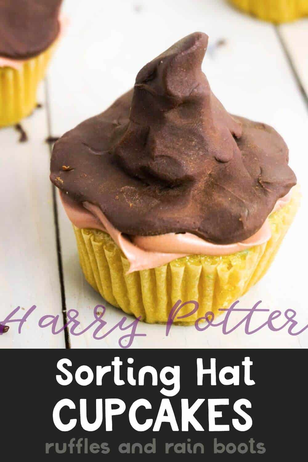 close up of harry potter cupcakes with text which reads Harry Potter Sorting Hat Cupcakes Recipe