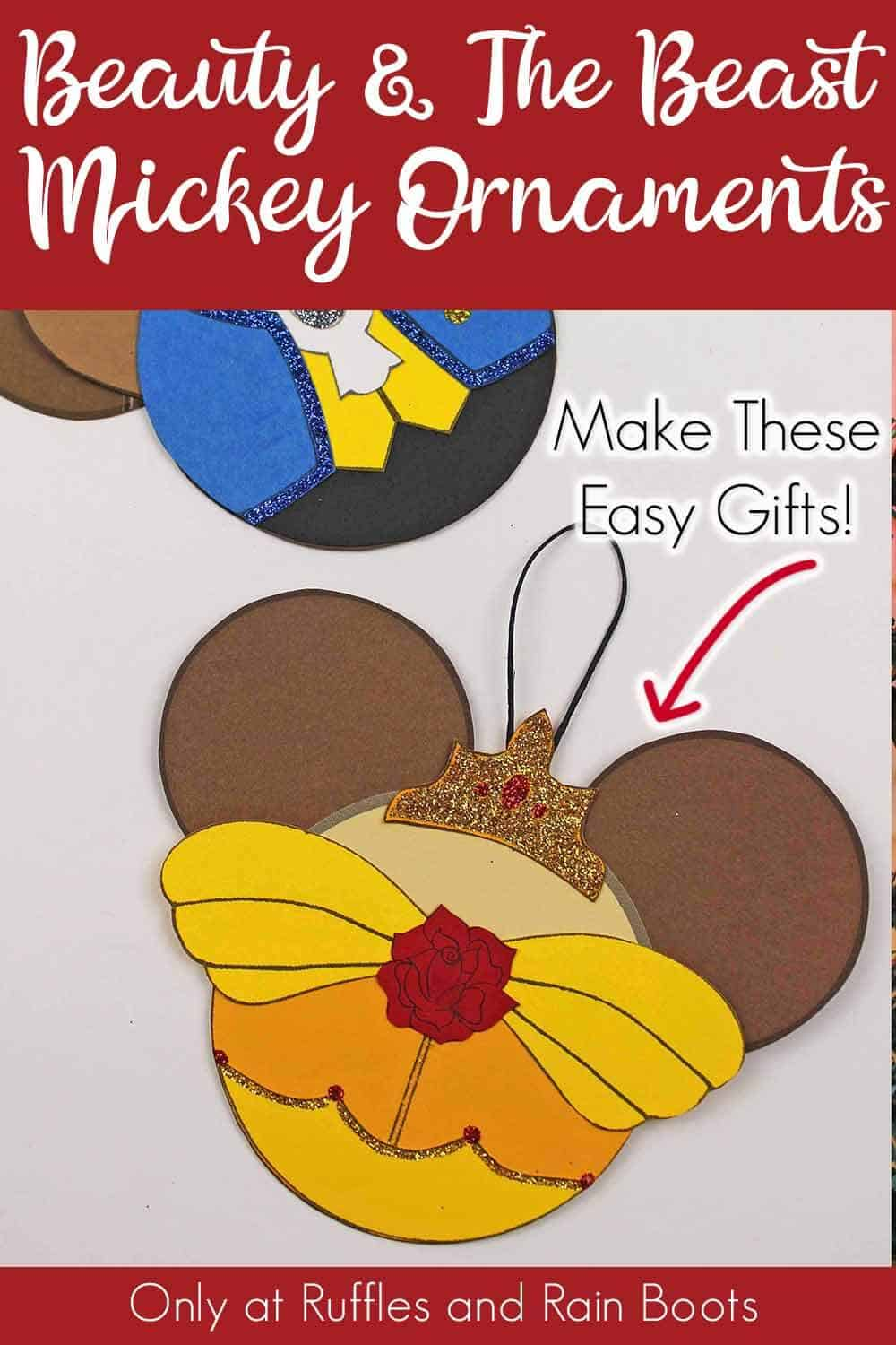 princess belle and beast christmas ornaments on a white backgroundwith text which reads beauty and the beast mickey ornaments make these easy gifts