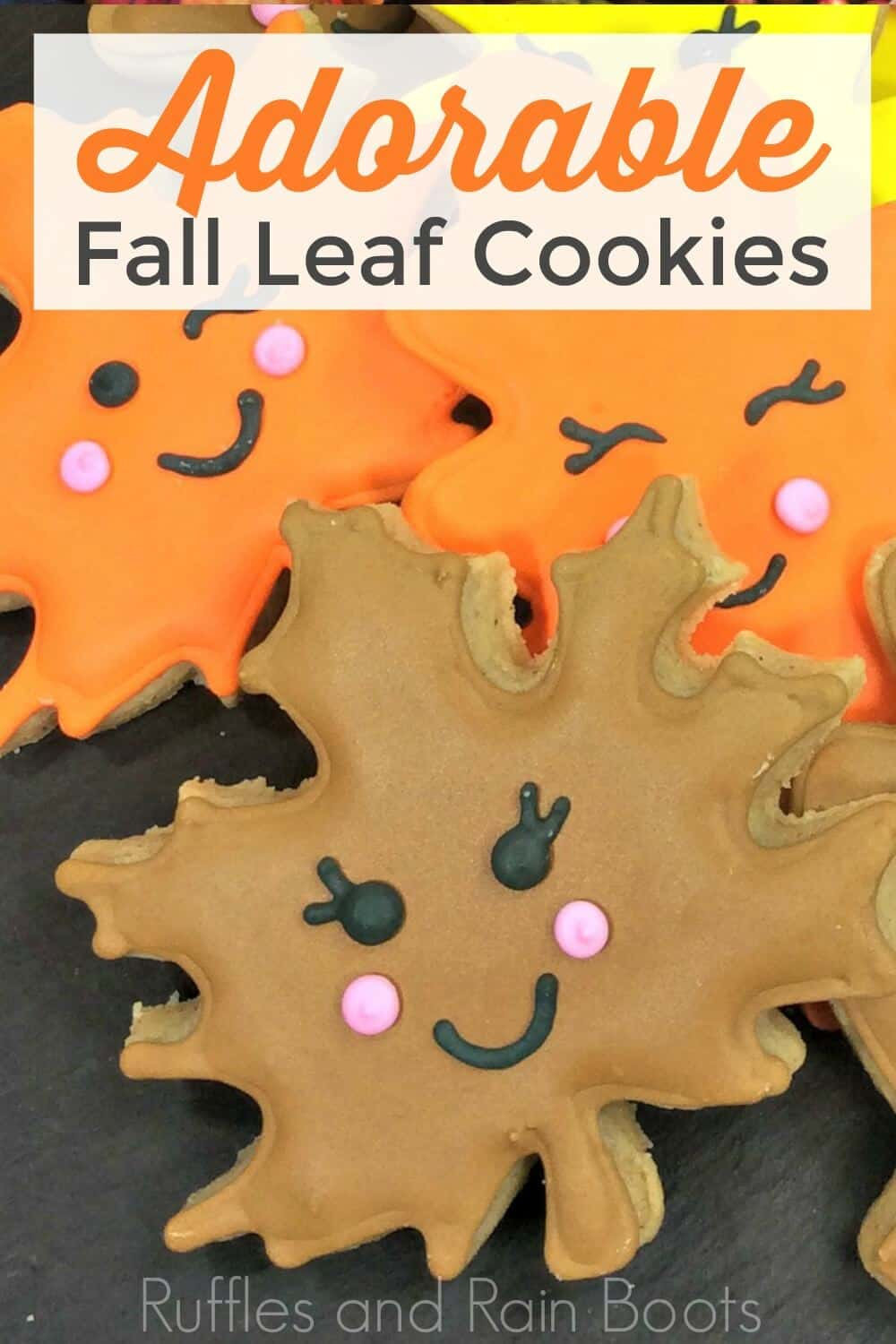 close up of fall cookies shaped like leaves with text which reads Adorable Fall Leaf Cookies