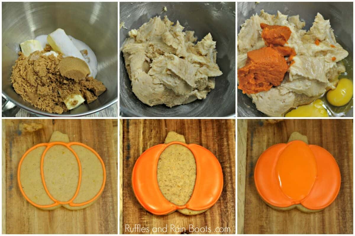 photo collage tutorial of How to Make Pumpkin Spice Cookies