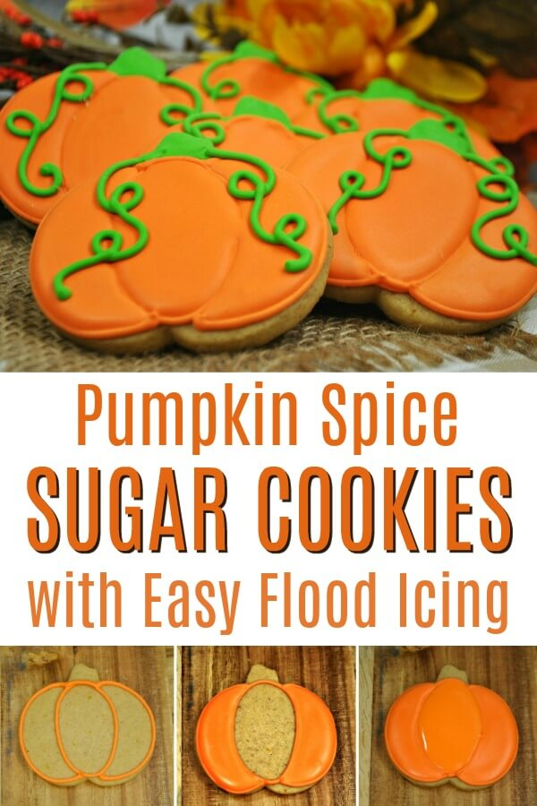 photo collage of pumpkin spice sugar cookies with text which reads pumpkin spice sugar cookies with easy flood icing