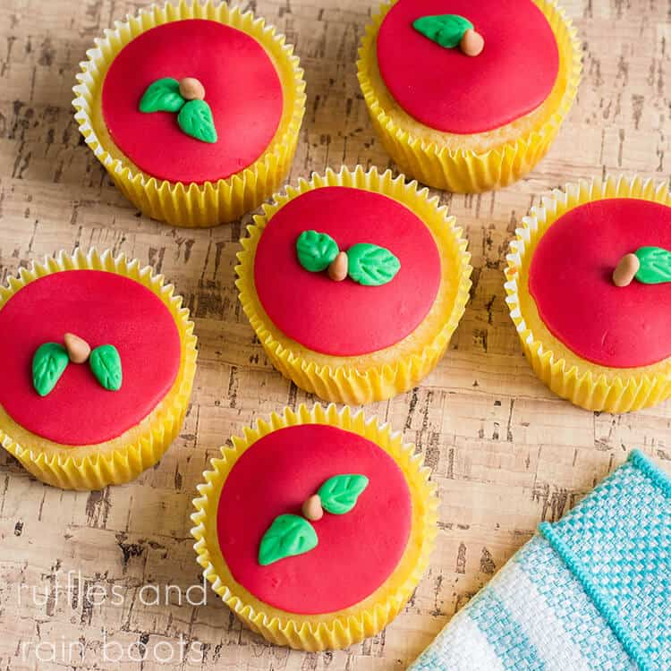 Fondant Apple Cupcakes on a brown table