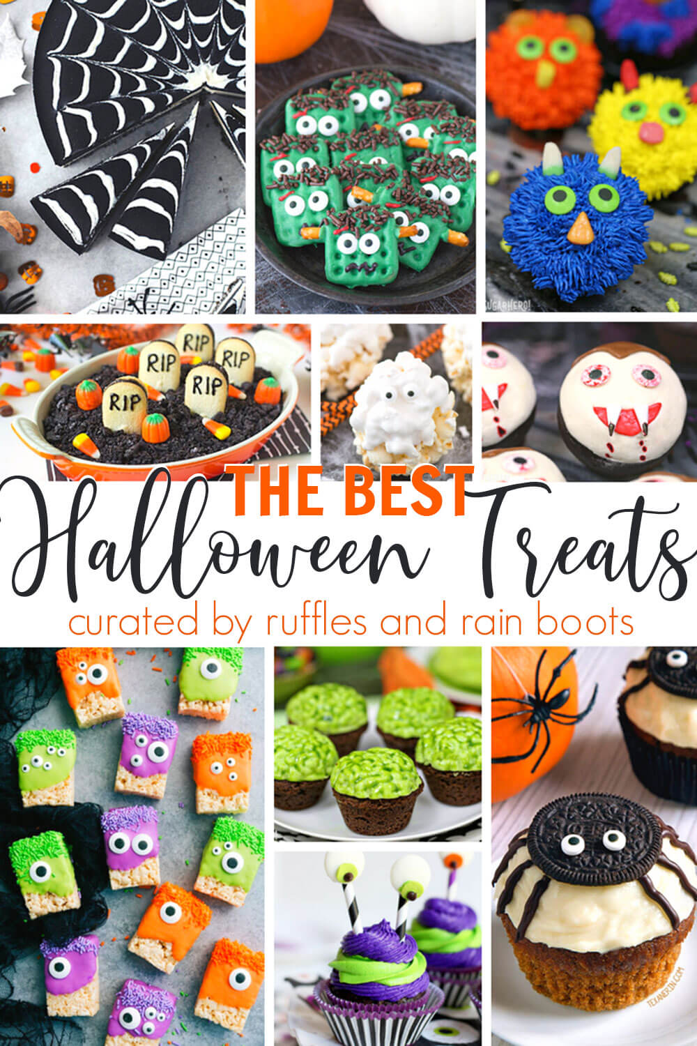 photo collage of halloween snack ideas with text which reads The Best Halloween Treats for Party Food