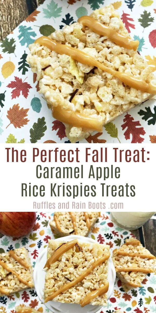 photo collage of Caramel Apple Krispies - Fall Treat for Kids with text which reads the perfect fall treat: caramel apple rice krispies treats