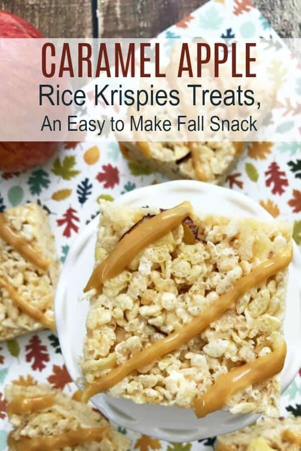 Easy to Make Snacks for Kids Caramel Apple Rice Krispies Recipe with text which reads caramel apple rice krispies treats an easy to make fall snack