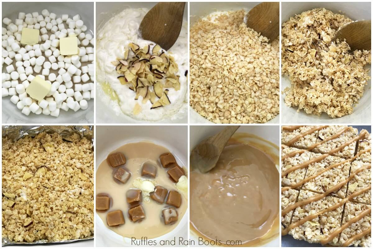 photo collage of How to Make Caramel Apple Rice Krispies Treats for Fall