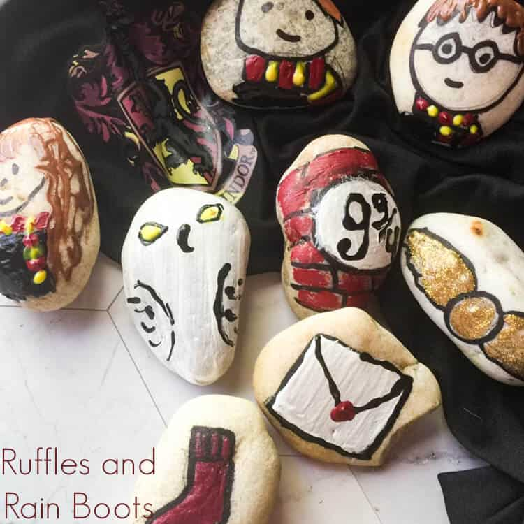 Harry Potter stones stone or painted rocks on white marble background