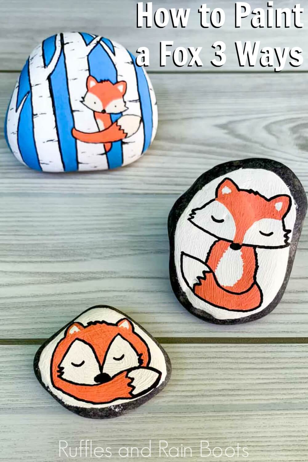 sitting fox rock painting, sleeping fox rock painting, and peek-a-boo fox in the forest rock painting on wood background