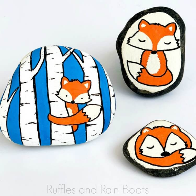 square image of fox rock painting ideas on bright white background