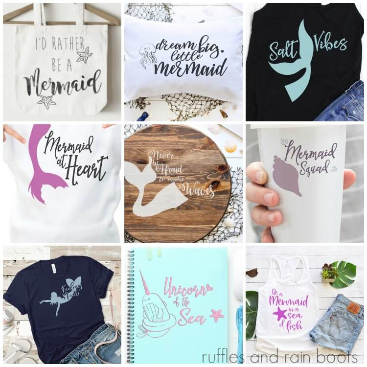 square collage of mermaid svg files for cricut and silhouette