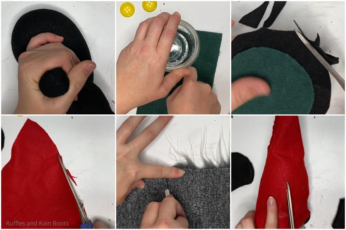 photo collage tutorial of how to make a mickey gnome