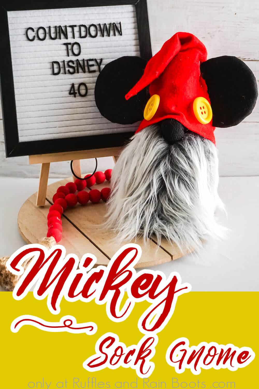 easy diy no-sew gnome tutorial to make a mickey gnome with a sock with text which reads mickey sock gnome