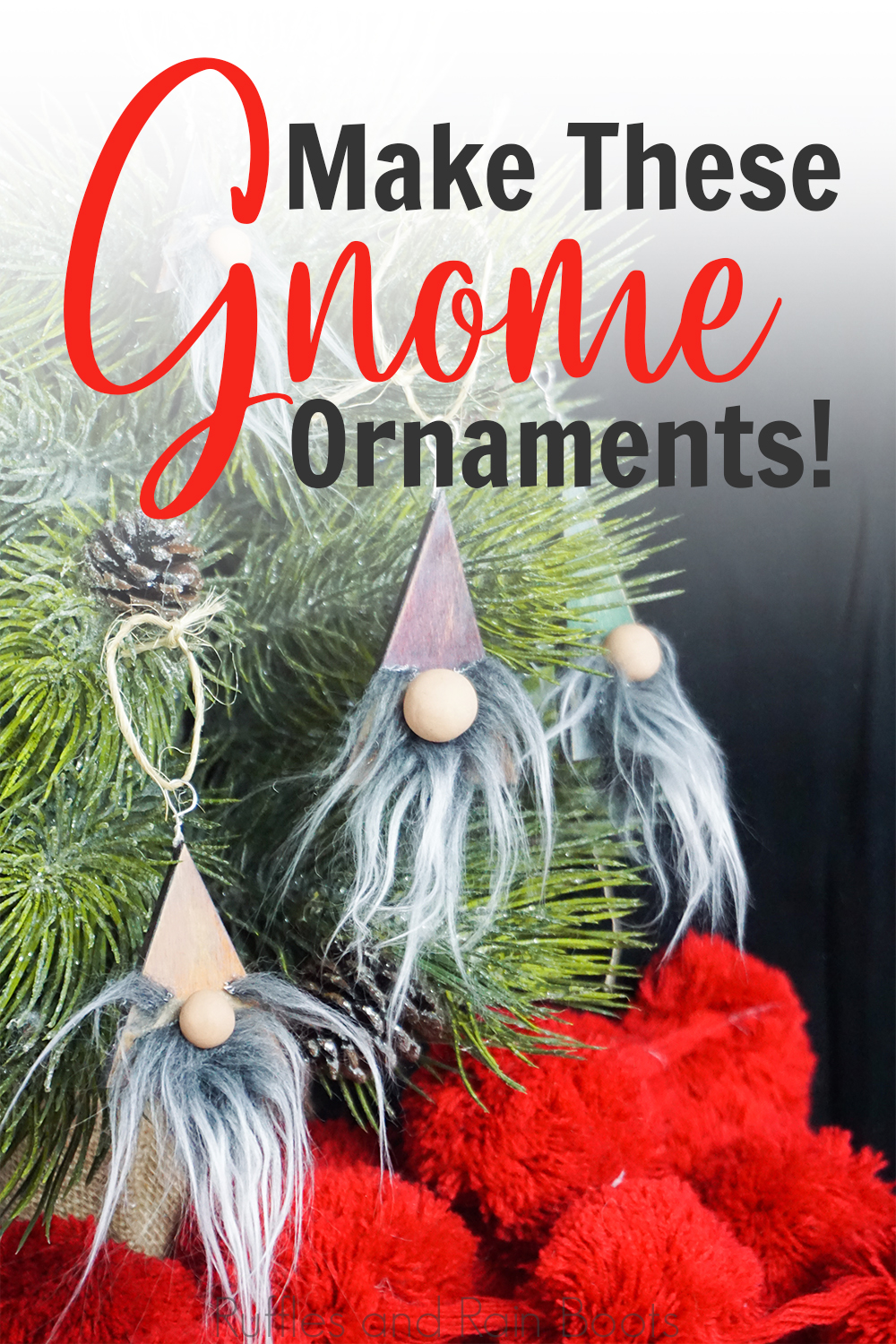 farmhouse christmas ornaments hanging on a christmas tree with a black background with text which reads make these gnome ornaments