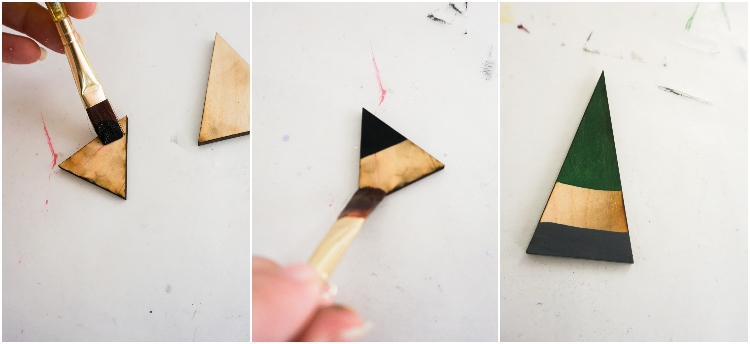 photo collage tutorial of how to make wood gnome ornaments