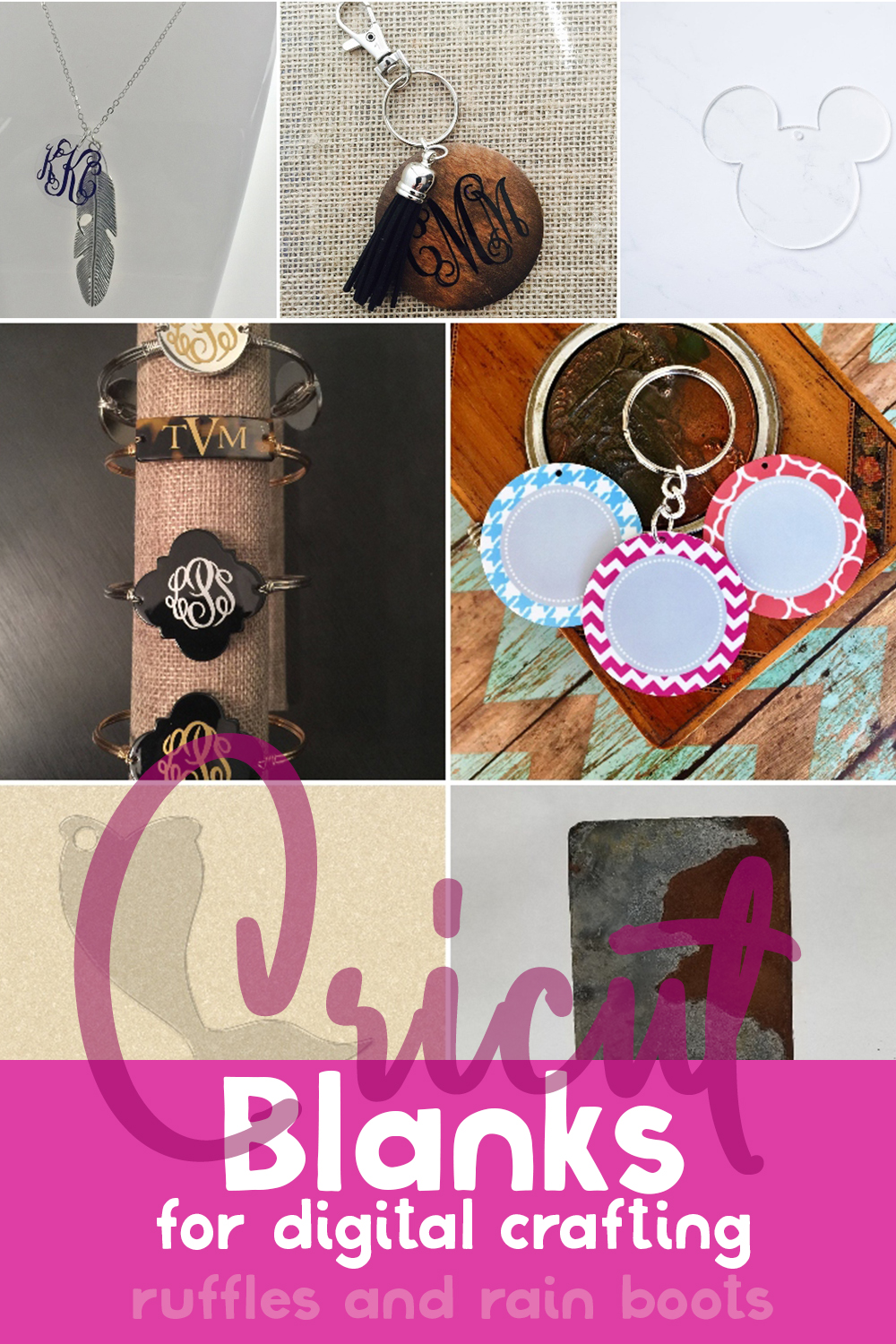 photo collage of how to make crafts with cricut with text which reads cricut blanks for digital crafts