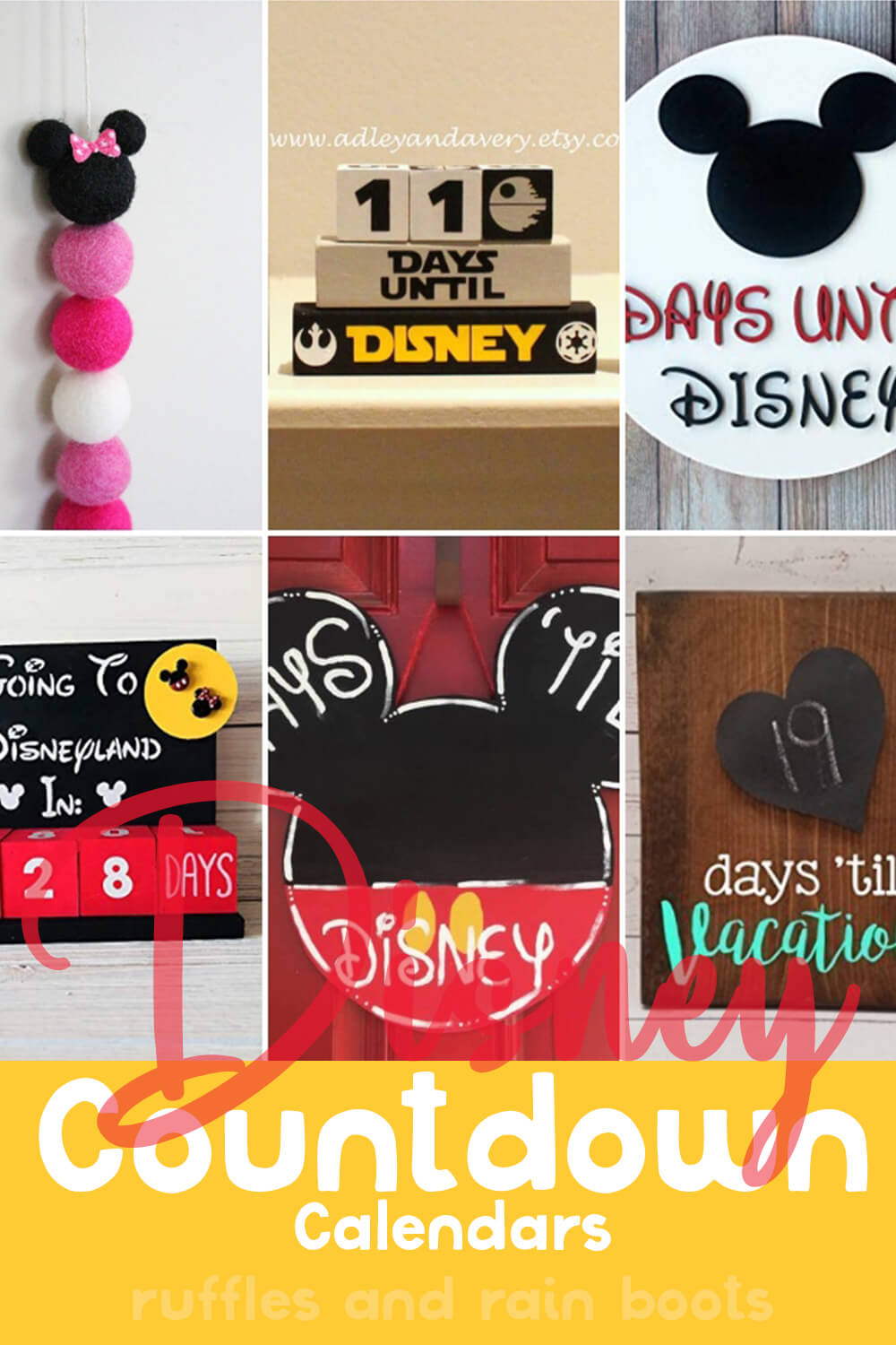 photo collage with text which reads disney countdown calendars